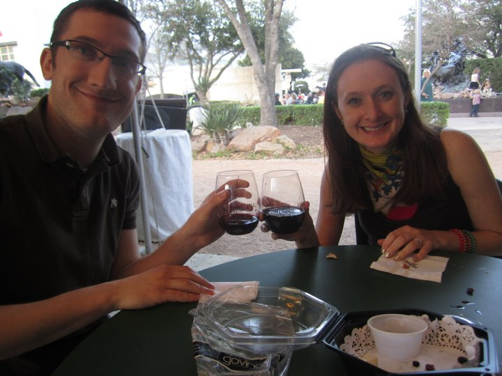 Being ridiculous with Mary at the Houston Rodeo Wine Garden, circa 2011