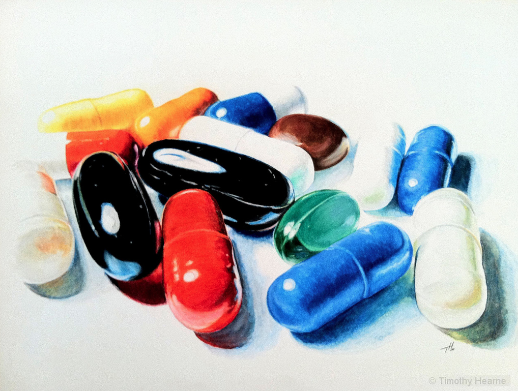 """Take Your Medicine"" by Timothy Hearne from Moore, OK. Color pencil, 18x23, NFS. Photo courtesy of OVAC."