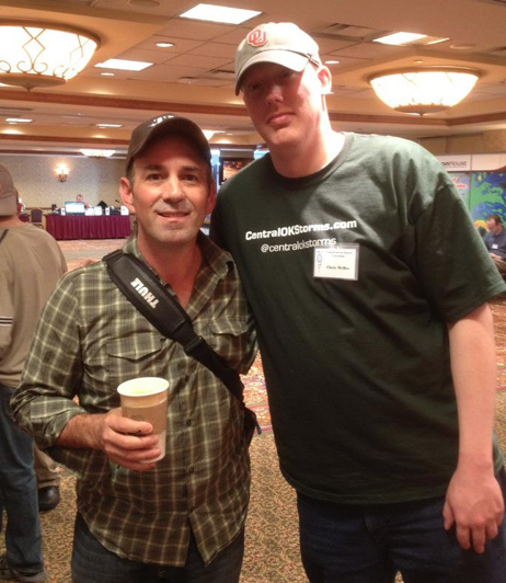 "Left to right: Sean Casey and Chris McBee at ChaserCon 2012 in Denver, CO. Casey made an IMAX film called ""Torando Alley"" which is being shown in museums and scince centers around the world."