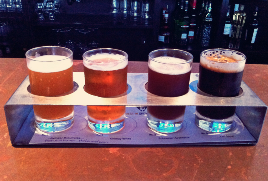 Left to Right: Franziskaner Hefeweizen, Chimay White, Schneider Aventinus, and Yeti Stout.