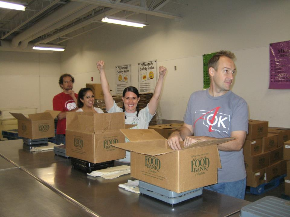 AOK at the Food Bank doing their monthly volunteering.