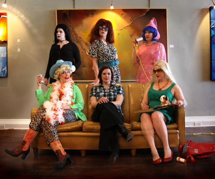 Back Row, L-R: Emily Kzany, Teenage Goth Poet; Zanni Kzany, Hostess and Emcee for Cafe Kzany (and Godmother of Snooki); The Reverend Cookie Bon Bon from Le Confession Zen. Front Row, L-R: Bobbie Lou Bootstrapper, Director of Creative Regional Arts Projects (C.R.A.P.) for Texas Arts Association; Molliver; Annie Onomus, Celebrity and Author. Photo by Sara and Shane Scribner.