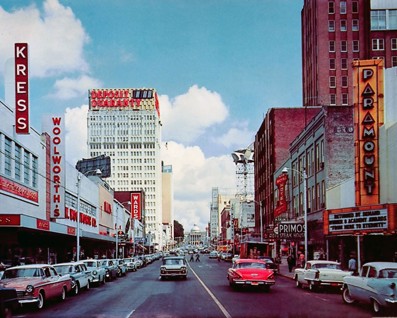 Cap Street, Jackson MS, 1950s postcard