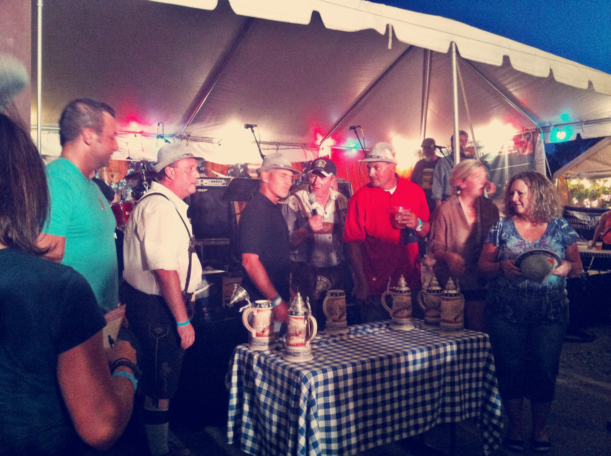 A beer stein holding contest.