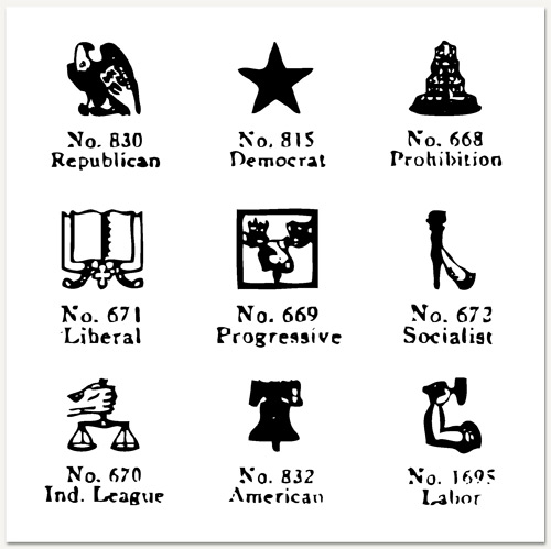 Political Party Logos from a 1920 Linotype book. In 1920, less than a single lifetime ago, there were 10 political parties in America taken seriously enough to warrant a logo in a book of common clip art.