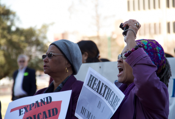 People from Tulsa, Oklahoma City and other parts of Oklahoma rally at the State Capitol Tuesday afternoon to protest Governor Fallin's decision to not expand on Medicaid benefits.