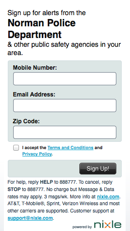 City of Norman makes it really easy to sign up for e-mail and text alerts.
