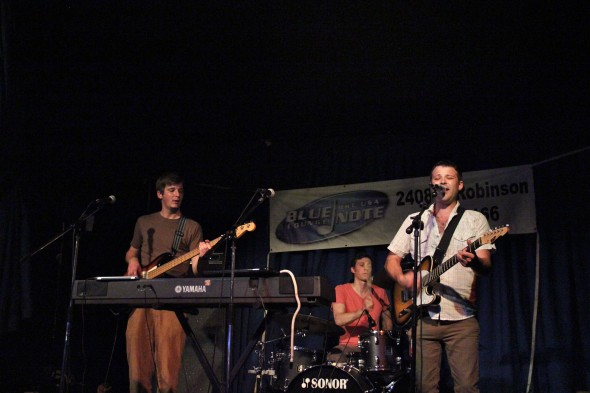 Left to right: Derek Moore, Robert Riggs, and Ben Bowlware. The Blue Note's stage Friday night.