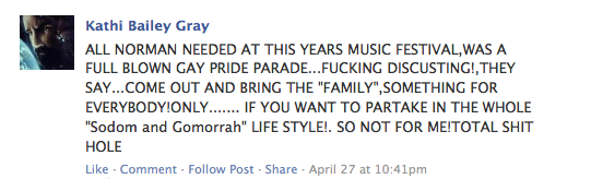 Commentary left on Norman Music Festival's event page.