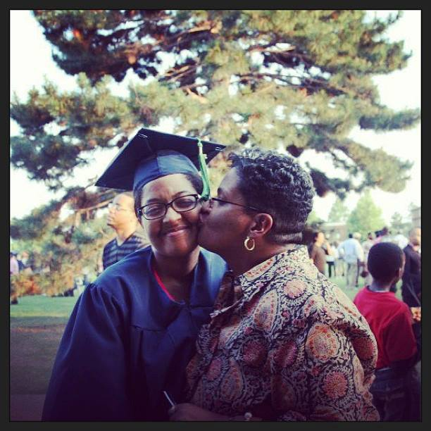 My mother and I at my graduation last year.