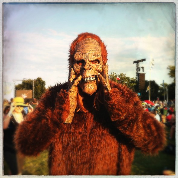 "Other zany shit my co-editor saw at Wilco's show, a guy in a gorilla suit who said his name was ""Will Call."""