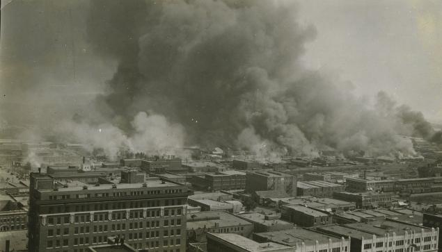 Greenwood, Tulsa in flames, 1921