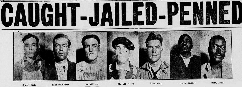 """Caught, Jailed, Penned"" - The front page of the Black Dispatch the day after the lynch mob was apprehended"