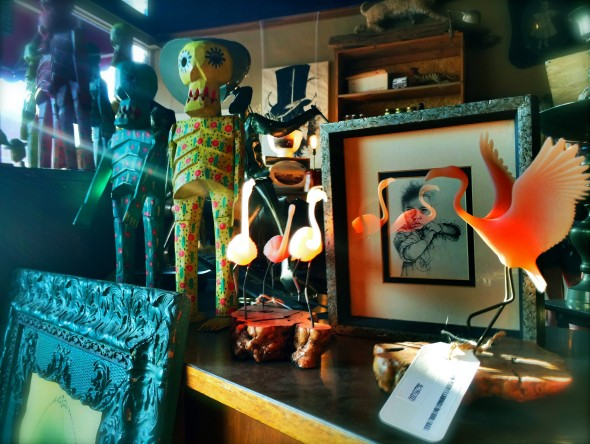 Flamingos decor and other whimsically retro and/or folk items at Prairie Gothic.