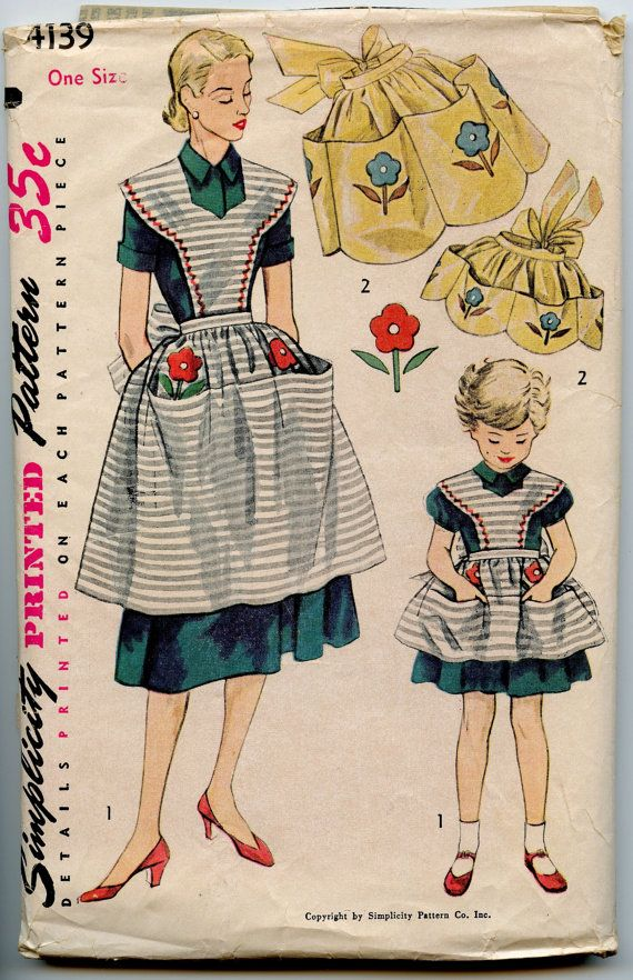 Mother and Daughter apron pattern, 1954